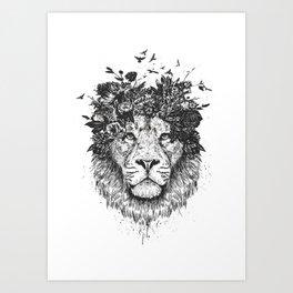 Floral lion (b&w) Art Print