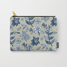 Monochrome Tan and Blue Alpine Flora Carry-All Pouch