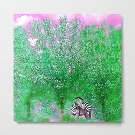 ZEBRA LOST AMONG THE TREES Metal Print