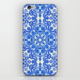 Cobalt Blue & China White Folk Art Pattern iPhone Skin