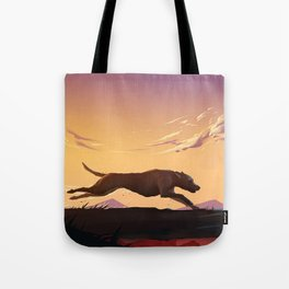 Running at sunset Tote Bag
