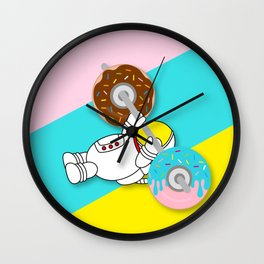 Astro Donut Dumbbell   Astronaut   Cosmonaut   pulps of wood Wall Clock
