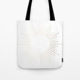 Simply Sunburst in White Gold Sands on White Tote Bag
