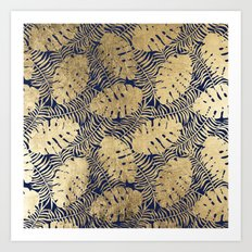 Tropical modern navy blue faux gold floral leaves Art Print