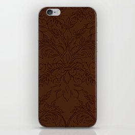 Dark Chocolate Damask Line Work Fleur de Lis Pattern Artwork iPhone Skin