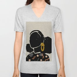 Black Hair No. 4 Unisex V-Neck