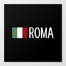 Italy: Italian Flag & Roma Canvas Print