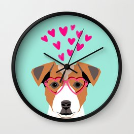 Jack Russell Terrier valentines day hearts love dog lover dog person gifts for valentine Wall Clock