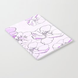 Painted Wild Roses Purple Notebook