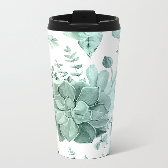 Simply Succulent Garden in Turquoise Green Blue Gradient Metal Travel Mug