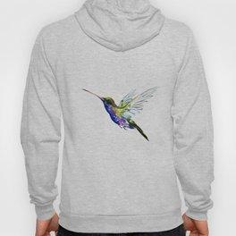 Flying Hummingbird, Blue green wall art minimalist bird Hoody
