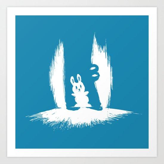 cornered! (bunny and crocodile) Art Print