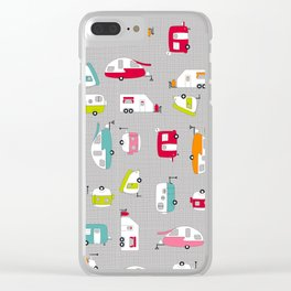 Multicolour Campers on Charcoal Clear iPhone Case