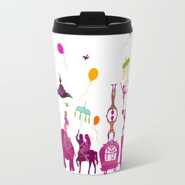 colorful circus carnival traveling in one row on white background Travel Mug