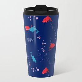Blue Dolphin and Red Shark Olympic Travel Mug