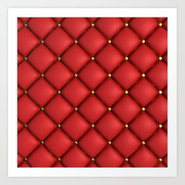 Red quilted texture Art Print