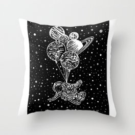 'SOAR' Original Astronaut Drawing - Outer Space - Planets - Wall Art Throw Pillow