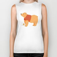 pooh Biker Tanks featuring Pooh Bear by Ray Elaine