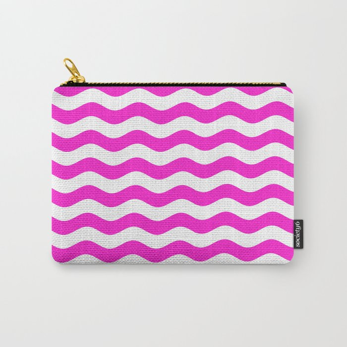 Wavy Stripes (Hot Magenta/White) Carry-All Pouch