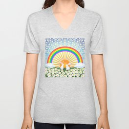 rainbow, sunshine, bunnies, & daisies Unisex V-Neck