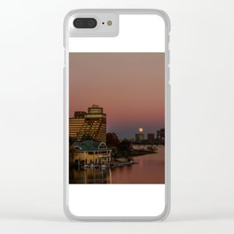 Moonrise in twiligh. Clear iPhone Case