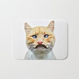 chat avec une moustache (Cat with a mustache in French) Bath Mat