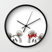 minnie mouse Wall Clocks featuring Mickey and Minnie Mouse.  by Christa Morgan ☽
