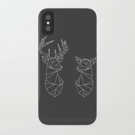 Geometric Stag and Doe (White on Grey) iPhone Case