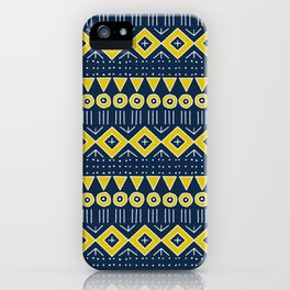 Mudcloth Style 2 in Navy Blue and Yellow iPhone Case