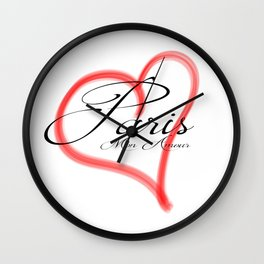Paris Mon Amour in a red heart - Vector Wall Clock