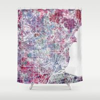 detroit Shower Curtains featuring Detroit map by MapMapMaps.Watercolors