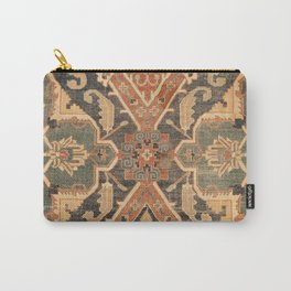 Geometric Leaves III // 18th Century Distressed Red Blue Green Colorful Ornate Accent Rug Pattern Carry-All Pouch