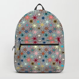 Modern Starburst Print, Jewel Colors on Gray Backpack