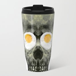 Funny Skull with Fried Egg Eyes Travel Mug