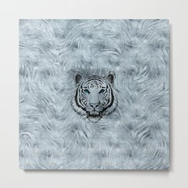 White Tiger on Frost glass background Metal Print