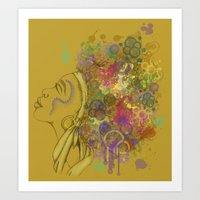 afro Art Prints featuring Afro by KiraTheArtist