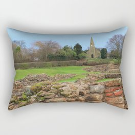 English Village Church overlooking Roman Excavations Rectangular Pillow