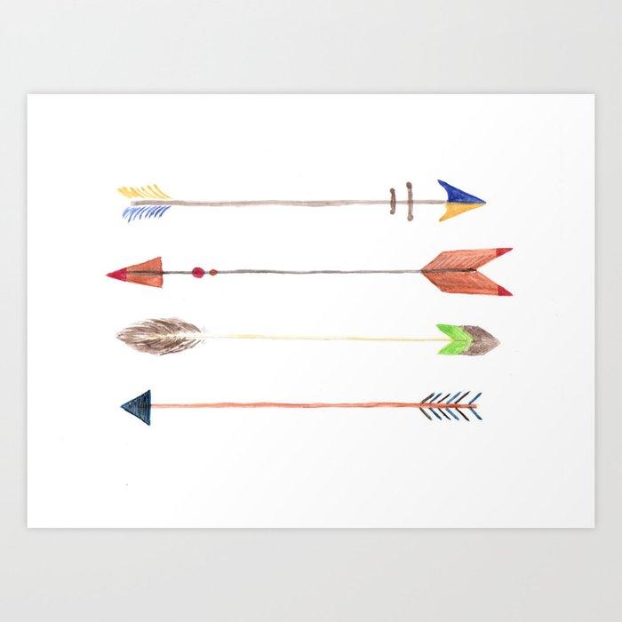 arrow cards watercolor arrows printed art decorative arrows four