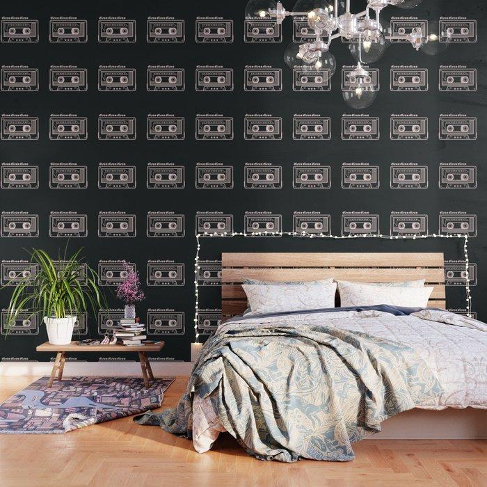Black and White Disco Music Cassette Wallpaper