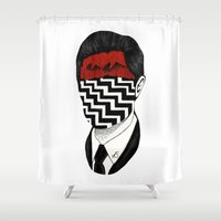 twin peaks Shower Curtains featuring Twin Peaks by Black Neon