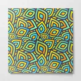 Abstract Coorful Mix Pattern. Green, Blue and Orange Shapes Metal Print