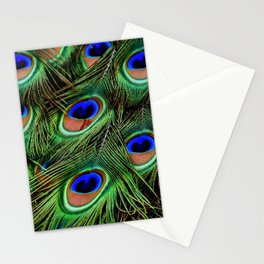 Peacock Feathers Plumage Pattern Stationery Cards