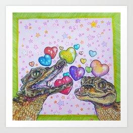 Caiman Kiss Art Print