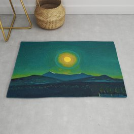 Winter Moonlight Mountain Landscape by Rockwell Kent Appalachian Rug