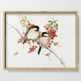 Chickadee Bird Vintage Bird Artwork, two birds, chickadees woodland design Serving Tray