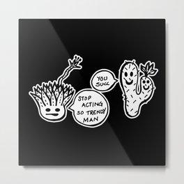 Cacti Ego - Black and White Trendy Succulent Illustration Metal Print