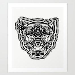 Blackwork Queen Cat Face Art Print