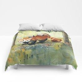 Red Panda Family Comforters