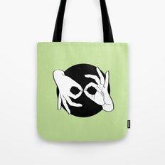 Sign Language (ASL) Interpreter – White on Black 15 Tote Bag
