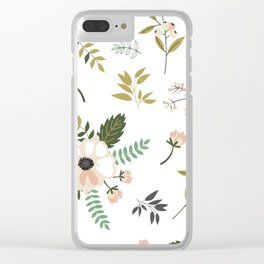 Winter floral - snowy blush petals Clear iPhone Case